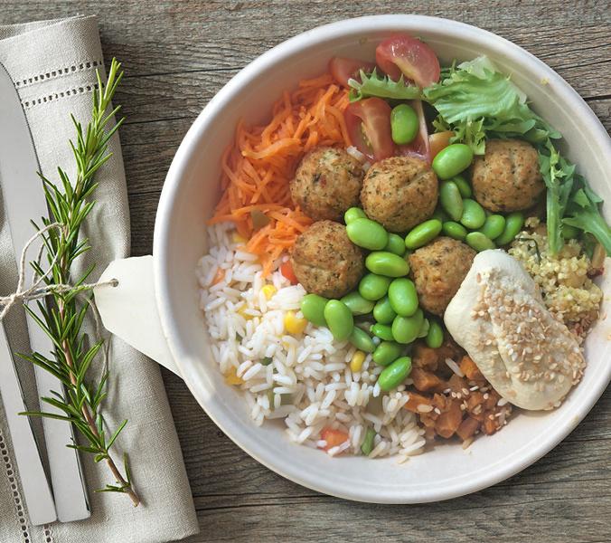 Bäckerei Der Beck Bowl vegan mit Hummus u. Falafel