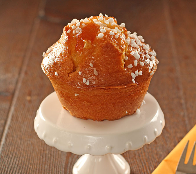 Aprikosen-Muffin gefüllt